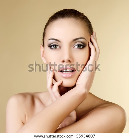 Beautiful portrait of the girl - stock photo