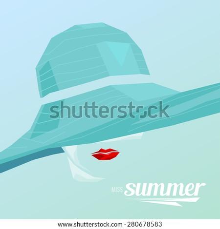 Beautiful portrait woman wearing elegant wide-brimmed hat. Vector vintage illustration. Miss Summer. - stock photo
