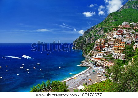 beautiful Positano. Amalfi coast. bella italia series - stock photo