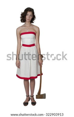 Beautiful possessed woman in a trace holding an axe - stock photo
