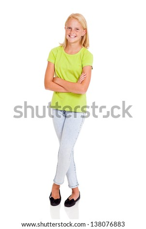 beautiful pre teen girl full length portrait isolated on white - stock photo