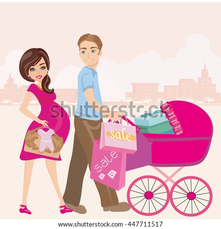 beautiful pregnant woman and her husband on shopping - stock photo