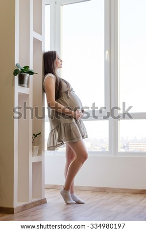 Beautiful pregnant woman in gray dress at the home - stock photo
