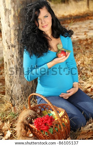 Beautiful pregnant woman with red apple, autumn outdoors - stock photo