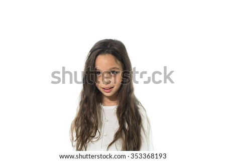 beautiful preschool girl on the white background - stock photo