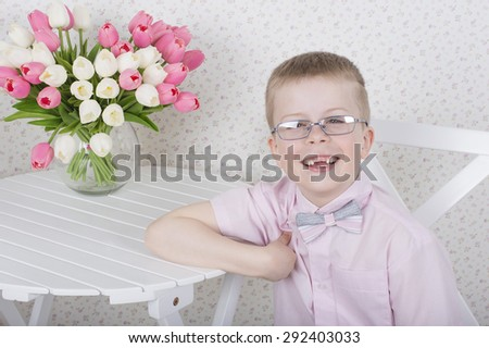 Beautiful pretty smiling preschooler smiling boy portrait - stock photo