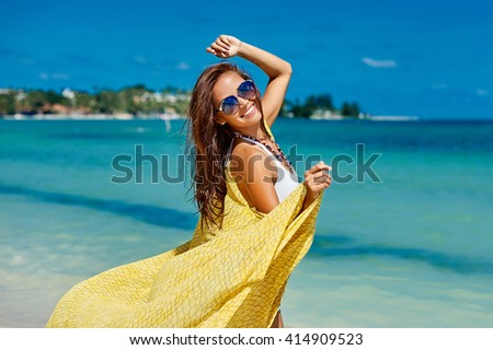 Beautiful pretty woman in bikini on tropical paradise beach - stock photo
