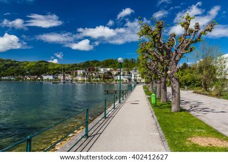 Beautiful Promenade By The Traunsee Lake - Gmunden, Upper Austria, Austria, Europe - stock photo