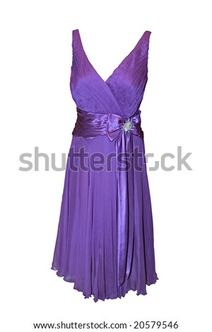 Beautiful purple dress isolated on white (clipping path included) - stock photo