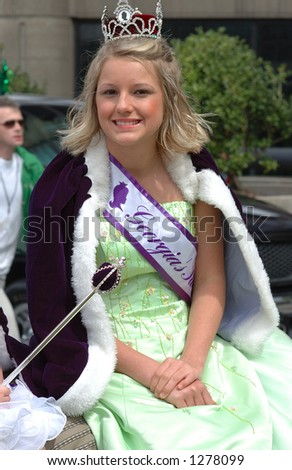 Beautiful Queen in St.Patrick Day parade Atlanta 2006 - stock photo