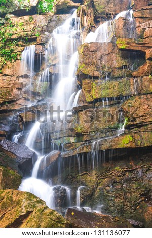 Beautiful rain forest and waterfall at Thailand. - stock photo
