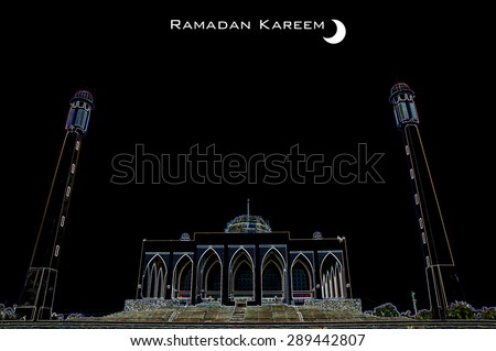 beautiful ramadan kareem background (Central mosque of Songkhla province, Thailand) - stock photo
