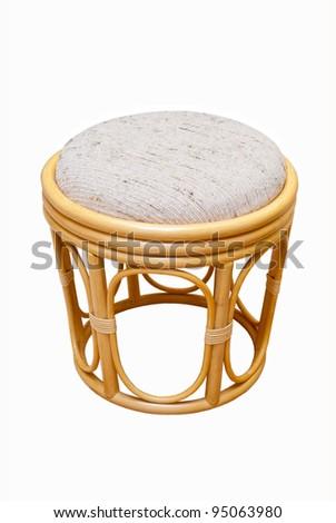 beautiful rattan stool on a white background - stock photo