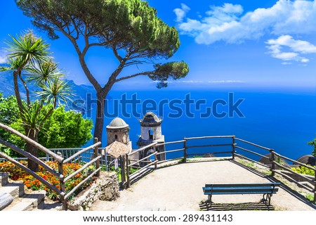beautiful  Ravello village, view with church. Amalfi coast, Ital - stock photo