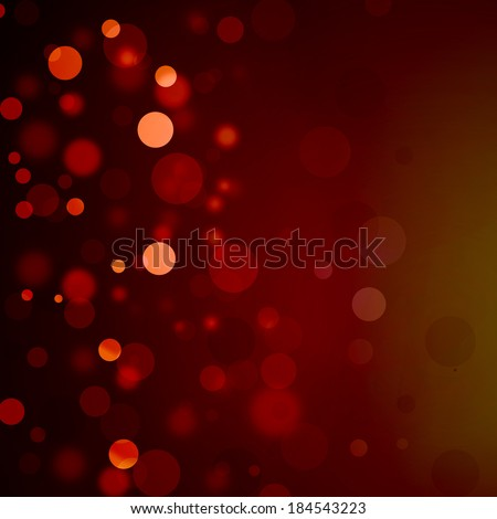 Beautiful red bokeh background with black border and shimmering white Christmas lights or abstract falling snow. Festive party background. Fantasy night or magical background glitter sparkles - stock photo