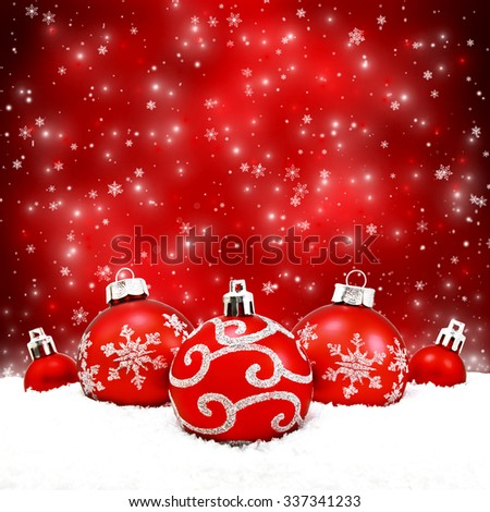 Beautiful red christmas balls on the red background - stock photo