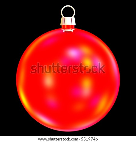 beautiful red christmas bauble isolated on black - stock photo