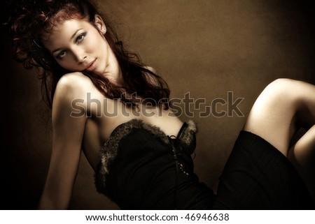 beautiful red hair sensual woman, studio shot - stock photo