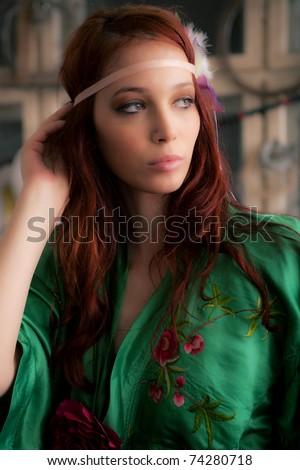 beautiful red hair woman portrait, indoor shot - stock photo