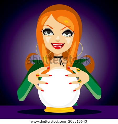 Beautiful red haired fortune teller woman reading future on magical crystal ball - stock photo
