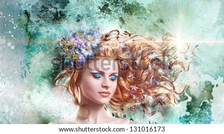 beautiful red-haired girl with flowers in their hair, art - stock photo