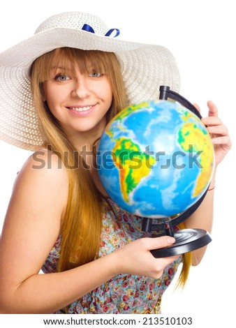 Beautiful red-haired girl with globe, isolated over white - stock photo