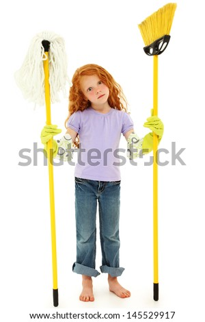 Beautiful red head girl with mom and broom barefoot over white. - stock photo