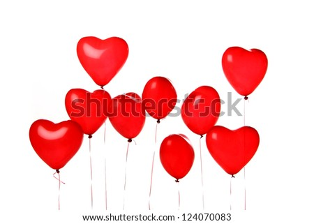 beautiful red heart balloons - stock photo