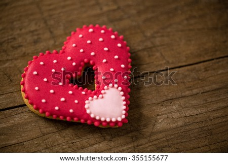 Beautiful red heart for valentine day on wooden desk - stock photo