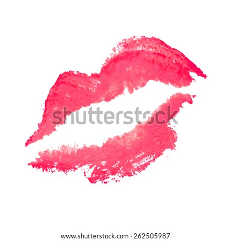 beautiful red lips isolated on white - stock photo