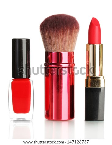 Beautiful red lipstick, nail polish and brush isolated on white - stock photo