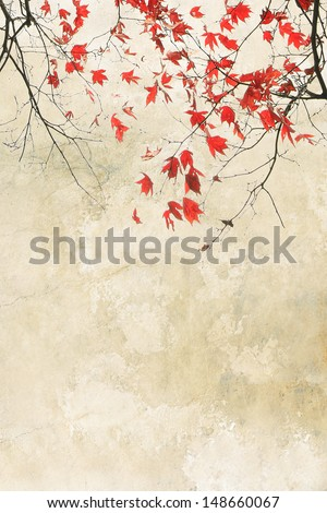 Beautiful red maple grungy autumnal background  - stock photo