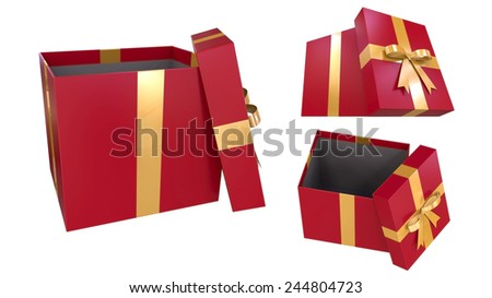 Beautiful red open present box with gold bow and ribbons  isolated on white background.Easy editable for your greeting card. - stock photo