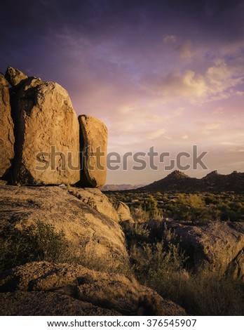 Beautiful red rock boulders overlooking north Scottsdale area in Arizona,USA - stock photo
