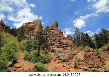 Beautiful red rock formations in North Cheyenne Canyon Park in Colorado - stock photo