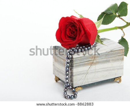 Beautiful red rose lying on box with black pearls - stock photo