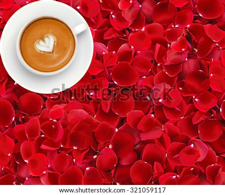 beautiful red rose petals background and coffee cup - stock photo