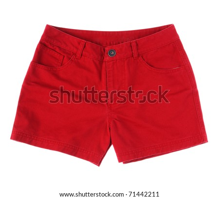 Beautiful red shots pant jean for a beautiful girl an image isolate on white - stock photo
