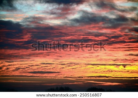 Beautiful Red Sunrise Dawm - stock photo