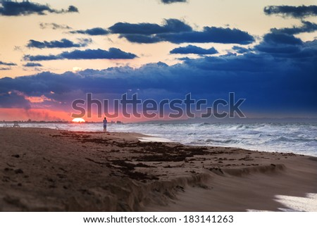 beautiful red sunset on the ocean - stock photo