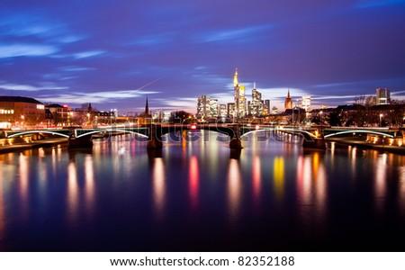 Beautiful red sunset over Frankfurt am Main - stock photo