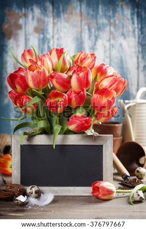 Beautiful red tulips bouquet, easter eggs  and garden tools on wooden table - spring, easter or gardening concept - stock photo