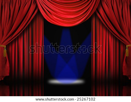 Beautiful Red Velvet Theater Stage Drape Curtains With Blue Spotlights - stock photo