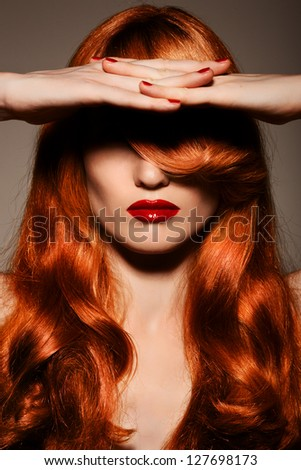Beautiful Redhair Girl.Healthy Curly Hair. - stock photo
