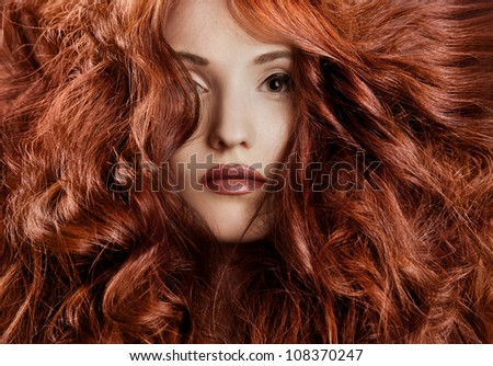 Beautiful redhair woman close-up portrait - stock photo