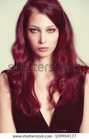 beautiful redhead woman portrait studio shot - stock photo