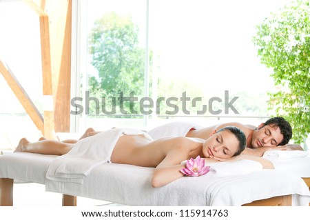 Beautiful relaxed couple enjoy the peace after a beauty treatment - stock photo
