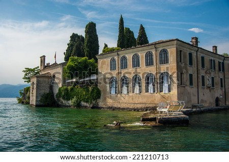 Beautiful residence at the coast of Garda lake in Italy - architecture background - stock photo