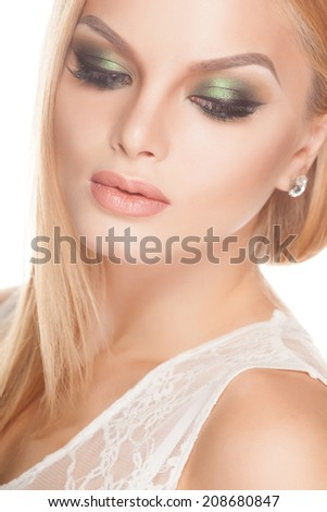 Beautiful retro bride with fashion  make-up - stock photo