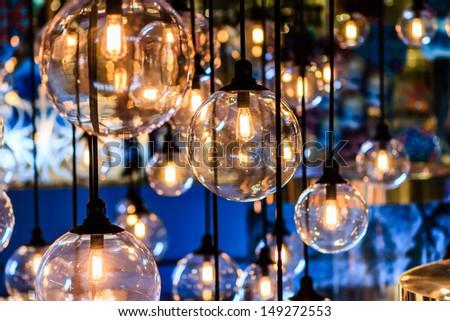 Beautiful retro luxury interior lighting lamp decor in Bangkok city, Thailand - stock photo